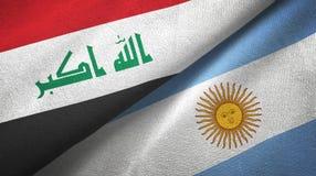 Pano de matéria têxtil das bandeiras de Iraque e de Argentina dois, textura da tela ilustração do vetor