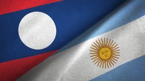 Pano de matéria têxtil das bandeiras de Laos e de Argentina dois, textura da tela ilustração do vetor