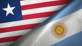 Pano de matéria têxtil das bandeiras de Libéria e de Argentina dois, textura da tela ilustração do vetor