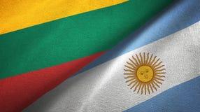 Pano de mat?ria t?xtil das bandeiras de Litu?nia e de Argentina dois, textura da tela ilustração royalty free