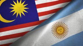 Pano de mat?ria t?xtil das bandeiras de Mal?sia e de Argentina dois, textura da tela ilustração royalty free