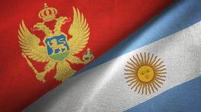 Pano de matéria têxtil das bandeiras de Montenegro e de Argentina dois, textura da tela ilustração stock