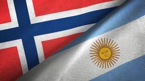 Pano de matéria têxtil das bandeiras de Noruega e de Argentina dois, textura da tela ilustração royalty free