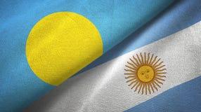 Pano de matéria têxtil das bandeiras de Palau e de Argentina dois, textura da tela ilustração do vetor