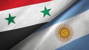 Pano de mat?ria t?xtil das bandeiras de S?ria e de Argentina dois, textura da tela ilustração stock