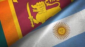 Pano de matéria têxtil das bandeiras de Sri Lanka e de Argentina dois, textura da tela ilustração royalty free