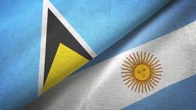 Pano de matéria têxtil das bandeiras de St Lucia e de Argentina dois, textura da tela ilustração royalty free