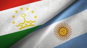 Pano de matéria têxtil das bandeiras de Tajiquistão e de Argentina dois, textura da tela ilustração do vetor