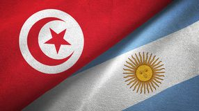 Pano de matéria têxtil das bandeiras de Tunísia e de Argentina dois, textura da tela ilustração do vetor