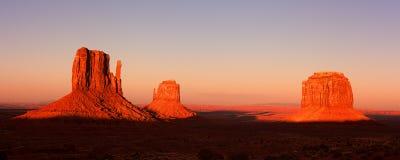 Pano do por do sol do vale do monumento Imagem de Stock