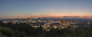 Pano of Downtown Cincinnati, Ohio skyline Stock Images