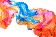Pano drapejado elegante Fundo alaranjado e azul da textura da tela Imagens de Stock Royalty Free