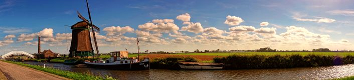 The Pano Dutch Landscape royalty free stock photo