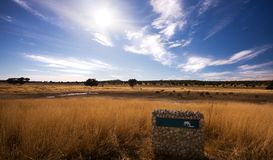 Pano landscape of watering hole in Kgalagadi Royalty Free Stock Photos
