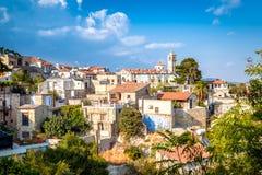 Pano Lefkara村庄看法在拉纳卡区,塞浦路斯 免版税库存照片