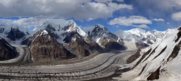 Pano norte da geleira de Inylchek, montanhas de Tian Shan Imagem de Stock