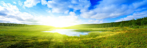 Pano of north mountain lake stock photography