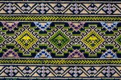 Pano tecido tailandês antigo, teste padrão 1, close up Fotografia de Stock
