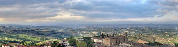Pano van San Gimignano hdr Stock Afbeelding