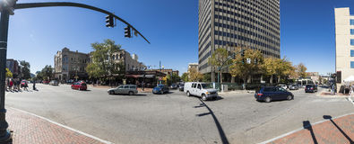 180 pano von im Stadtzentrum gelegenem Asheville, NC Lizenzfreie Stockfotos
