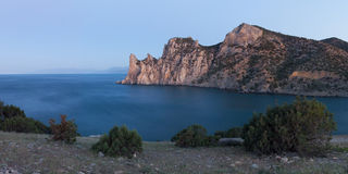 Panoama of rocky coastline of Royalty Free Stock Image