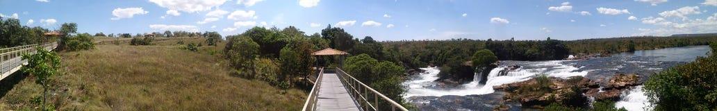 Panorámico cascada del ` s de Cachoeira DA Velha - de Velha - en Jalapao, el Brasil Imágenes de archivo libres de regalías