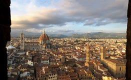 Panorámico de Florencia de la torre del palazzo Vechio Fotografía de archivo libre de regalías
