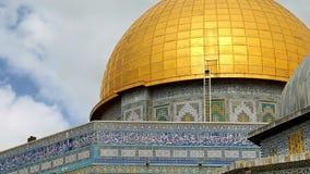 Panorámico de la bóveda de la mezquita de la roca en Jerusalén almacen de video