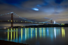 Panorámico del puente de 25 de Abril, Lisboa Fotografía de archivo libre de regalías