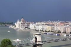 Panorâmico de Budapest com construção do parlamento Fotografia de Stock