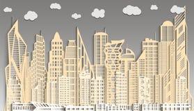Panoramа абстрактного городского пейзажа сделанное из бумаги Стоковая Фотография RF
