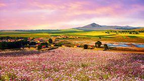Panoram łąki obszar trawiasty, Hebei, Chiny Zdjęcie Stock