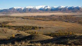 Panoram śnieżne granie Altai góry w Altai republice Obrazy Royalty Free