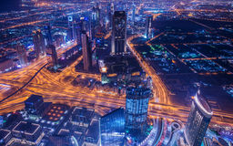 Panoram ночи Дубай Стоковая Фотография RF