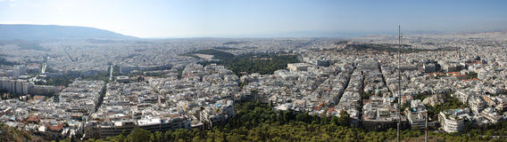 Panoram of Athens, Greece. Panoramic shot of Athens city in Greece. Here you can notice the size of huge Greek capital Royalty Free Stock Photo