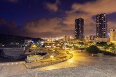 Panoram de Castillo de San Juan Bautista y de Santa Cruz de Tenerife foto de archivo