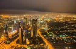 Panoram de la noche Dubai Imagen de archivo libre de regalías