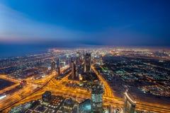 Panoram der Nacht Dubai Lizenzfreie Stockfotografie