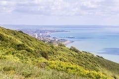 Panoram di vista della città di Eastbourne, Regno Unito Immagini Stock