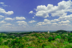 Panoram of Maya pyramid in the rain forest of Tikal. In Guatemala stock photos