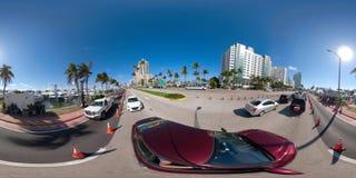 360 panoram Miami plaży przedstawienia Collins łódkowata aleja zdjęcie stock