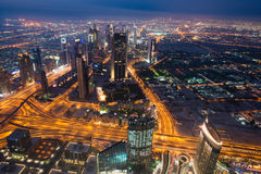Panoram of night Dubai Stock Image