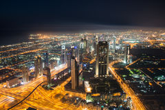 Panoram of night Dubai Royalty Free Stock Image