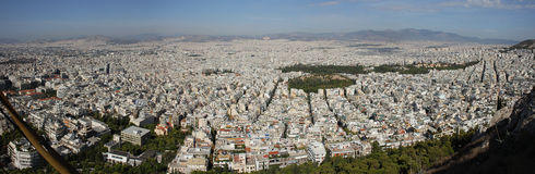 Panoram van Athene, Griekenland Stock Afbeelding