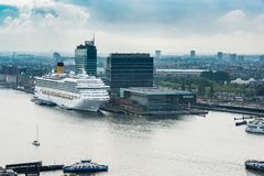 Panoram view on the Amsterdam, Netherlands. Shot taken from the A`dam lookout tower. There is also a big cruise ship Stock Photos
