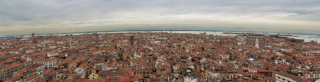 Panoram view of Venice with a bird's-eye view. View over the red rooftops of Venice, aerial view Royalty Free Stock Photography
