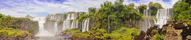 Panoram of Waterfalls Cascade Iguasu. Waterfalls-1 San San Martin,2 Salto Mbigua,3 Salto Gpque Bernabe Mendez,4 Salto Adam and Eva, 5 Salto Bossetti Royalty Free Stock Photo