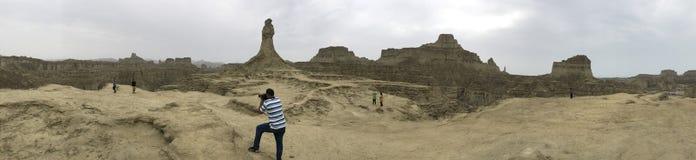 360 panoram widoku Princess nadzieja i Wielki sfinksa Hingol park narodowy Obrazy Stock