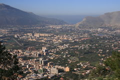 Panorama ° ZEN quarter and sea, Palermo. View of sea and Zen popular quarter constructions. Sicily.Housing developments of the post-war italian architecture Royalty Free Stock Photography