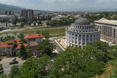 Panorama à cidade de Skopje da fortaleza na cidade velha, república da couve da fortaleza de Fotografia de Stock
